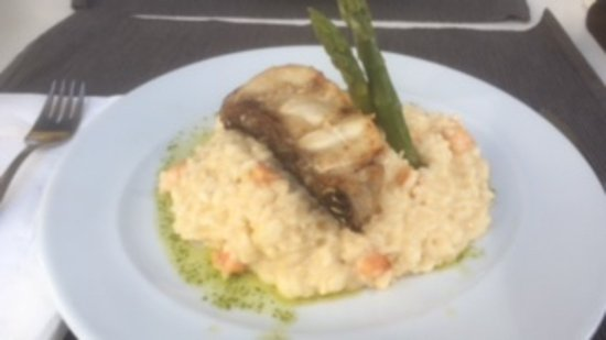 Grouper fish with shrimp risotto
