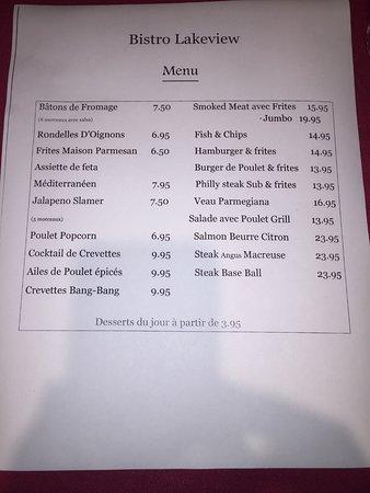 Auberge Lakeview: Le menu de la salle à manger