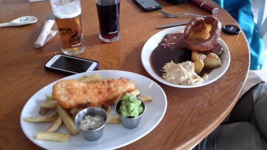 The Harbourmaster: Beer battered cod & chips; roast beef w yorkshire pudding, rooted vegetables and potatoes