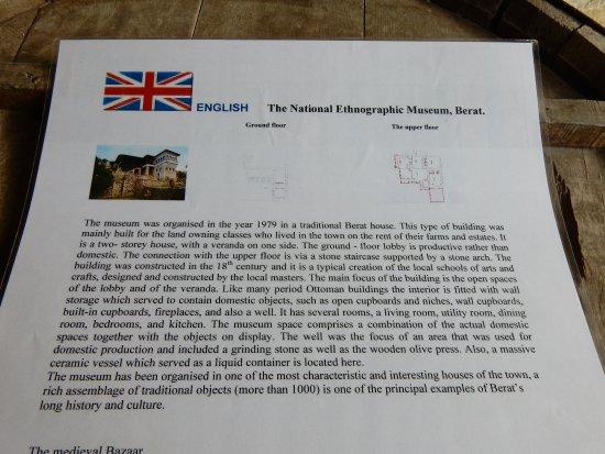 National Ethnographic Museum Berat: information sheet