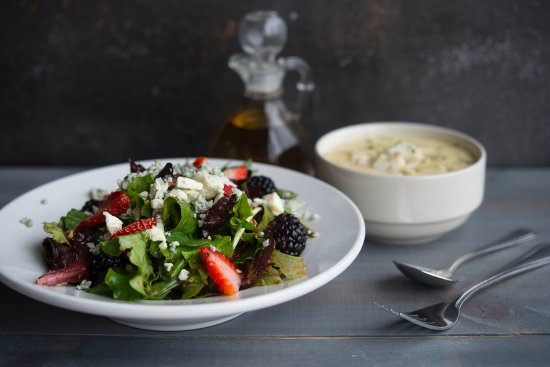 Grasonville, MD: Everyone's favorite soup and salad! Nuts & Berries Salad paired with Cream of Crad Soup