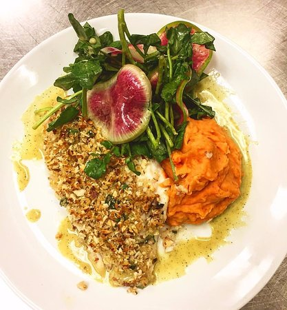 Livingston, NJ: almond crusted florida grouper