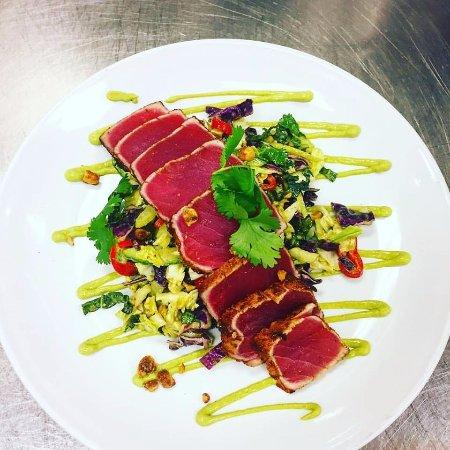 Livingston, NJ: coriander crusted tuna