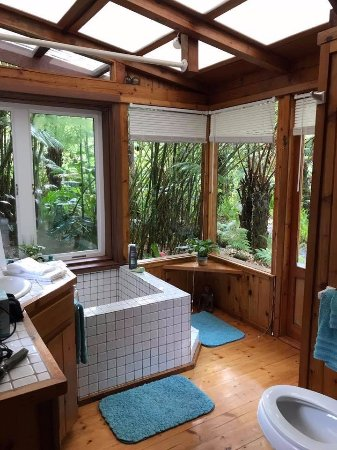 Volcano Rainforest Retreat: Gorgeous views outside of the bathroom.