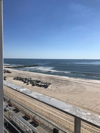 Long Beach, NY: view of boardwalk and beach from ocean front room