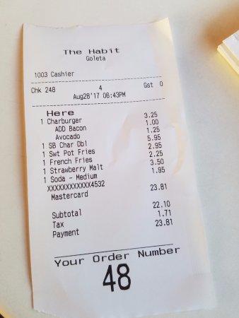 The Habit Burger Grill: receipt Aug 2017