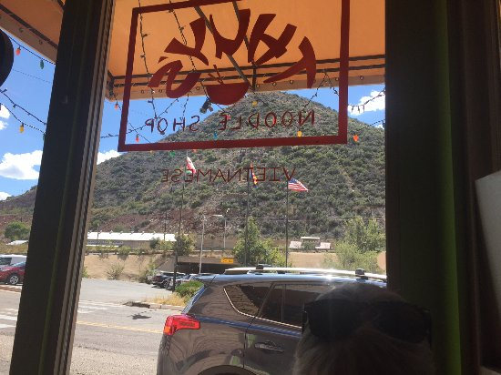 Thuy's Noodle Shop : Looking outside from a table for two.