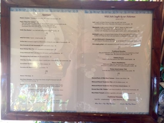 Mama 39 s menu picture of mama 39 s fish house paia tripadvisor for Mamas fish house lunch menu