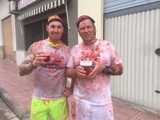 La Tomatina Bunol Spain August 2017 - the after beer !!