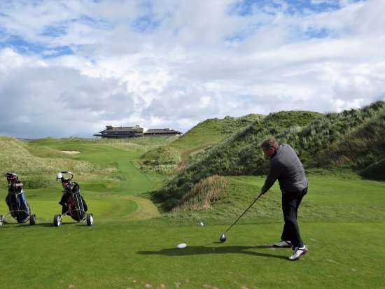 Ballybunion, Ireland: #18 with view of restaurant and clubhouse in background.