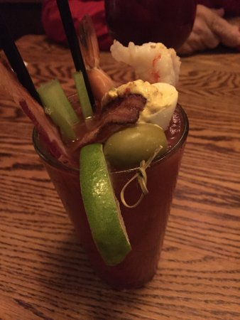 Kingsport, TN: Loaded Bloody Mary with shrimp, deveiled egg, stuffed olive, lime