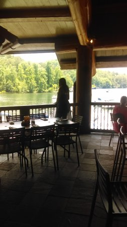The Chophouse At Laprades: Deck overlooking the lake.