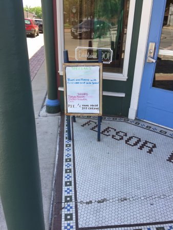 """Tuscola, IL: Entrance to Flesor's with """"Specials"""" Board"""