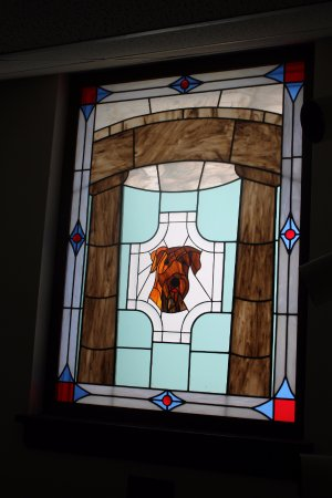 Marion, OH: Stained glass in the Harding display.
