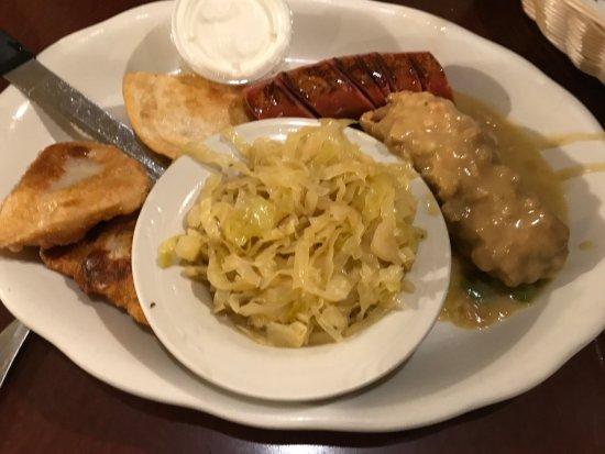 Plymouth, MI : Polish Combo with City Chicken, Smoked Kielbasa, Pierogi, and Sauerkraut