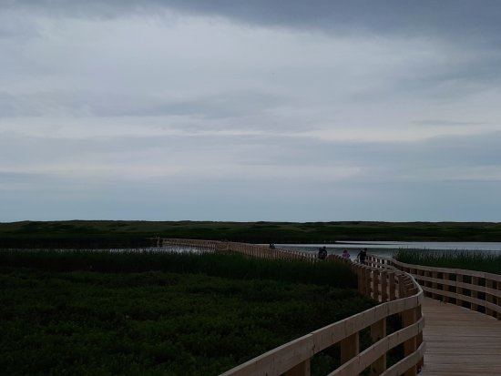 Saint Peters Bay, Canada: The boardwalk crossing the pond towards Greenwich dunes