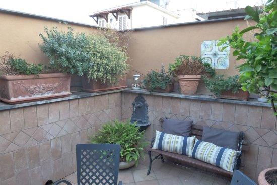 Hotel Il Convento: The private terrace outside our room.