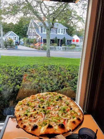 Ember Coal Fired Pizza & Wings: Veggie Pizza with a view.