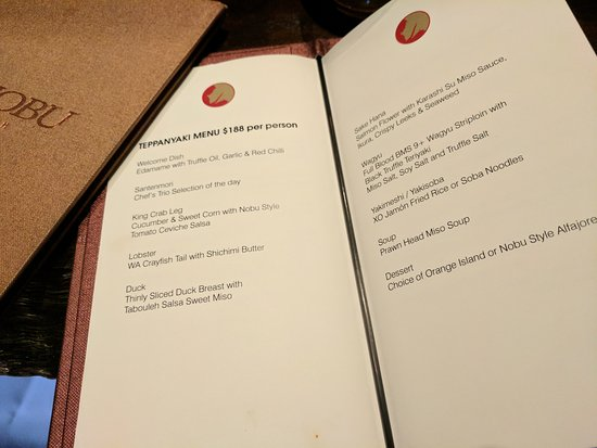 Nobu Crown Perth Menu