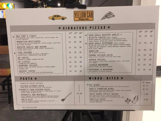 Menu List Picture Of Yellow Cab Pizza Co Singapore Tripadvisor