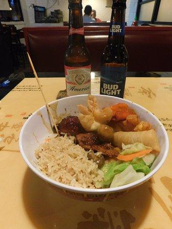 Hong Kong Buffet: Spring Rolls, Vegetables, Fried Rice etc