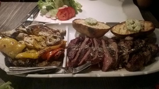 Spanish steak with grilled vegetables and mushrooms side - Steak d espadon grille sauce combava ...