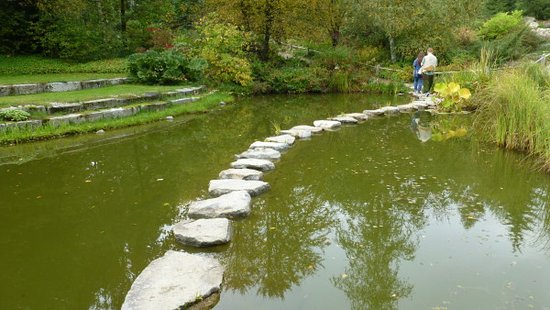 Wiesent, Germany: Don't get dizzy as you walk across the stepping stones