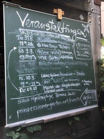 Prinzessinnengarten: Veranstaltungstafel
