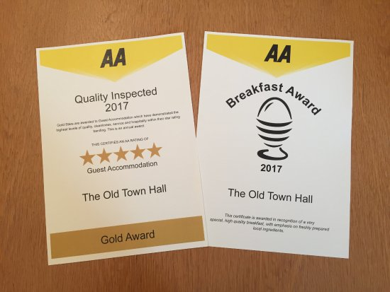 Redmire, UK: AA Inspection in September giving us highest rating 5 Gold Stars and The Breakfast Award