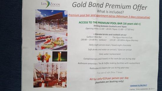 Los Zocos Club Resort: Gold Band Premium upgrade details