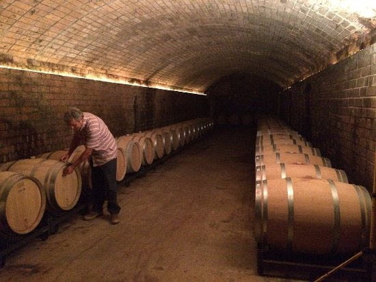 Hi. This is Barcelona...: Joan with his aging barrels of wine.