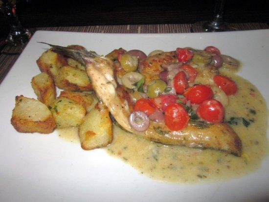 Trevose, PA: Branzino Aquapazza (w/ cherry tomatoes & olives) & Roasted Potatoes