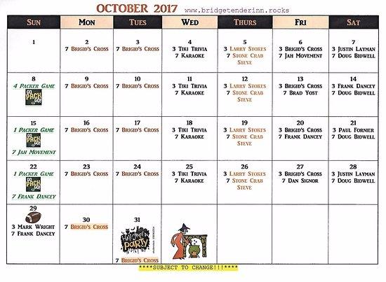 Bridge Tender Inn: October Entertainment Schedule!