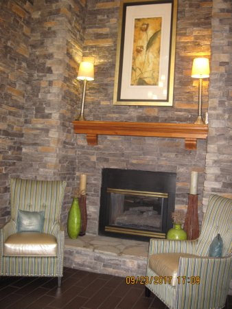 Hampton Inn and Suites Charlotte Pineville: Fireplace in Lobby
