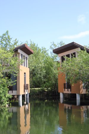 Banyan Tree Mayakoba: A couple of the spa pavilions over the mangrove.
