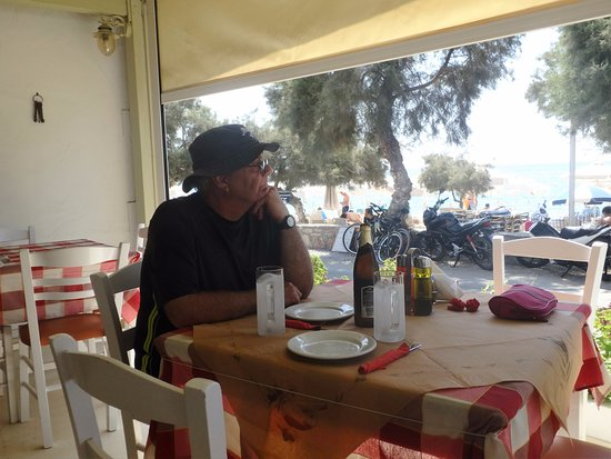 Nikos Restaurant: husband relaxing