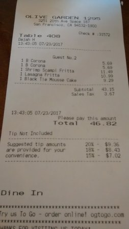 Olive Garden San Francisco Menu Prices Restaurant Reviews Tripadvisor