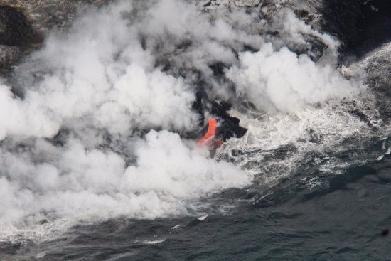 Blue Hawaiian Helicopters - Hilo: Lava falling into the Ocean