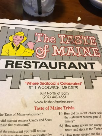 Woolwich, ME: Trivia on your placemat, I did not find time to read it all!