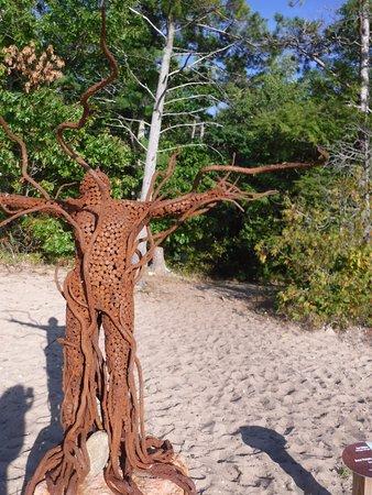 Metal sculpture on the beach.