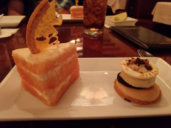 Hollywood Brown Derby: Dessert trio - notice there is only 2. They shorted us each a dessert and didn't even let us pic