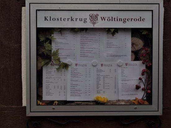 Vienenburg, Tyskland: Sauberer Kasten mit Getränke- und Speisekarte