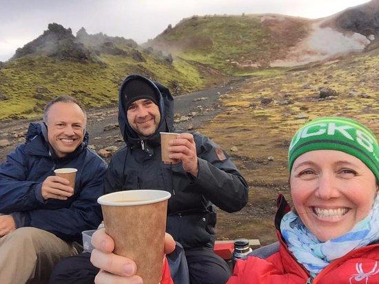 Хафнарфьордур, Исландия: Adam had hot coffee or hot chocolate ready for us half-way through the most beautiful hike!