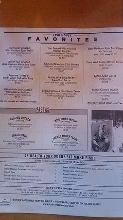 King 39 s fish house for Kings fish house menu