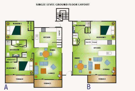 Botany Downs, Nya Zeeland: Layout of ground floor units - 1-Bed 64 SqM, 2-Bed 80 SqM