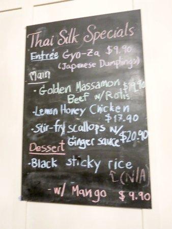 Thai Silk: Specials board