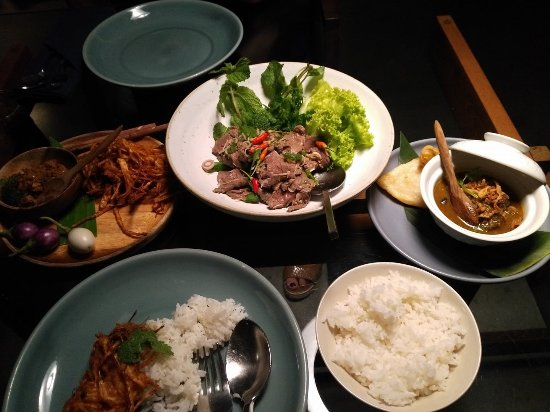 taro root, beef salad and a tiny curry at the never ending summer