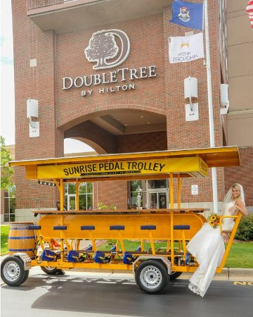 Bay City, MI: Bride With Sunrise Pedal Trolley