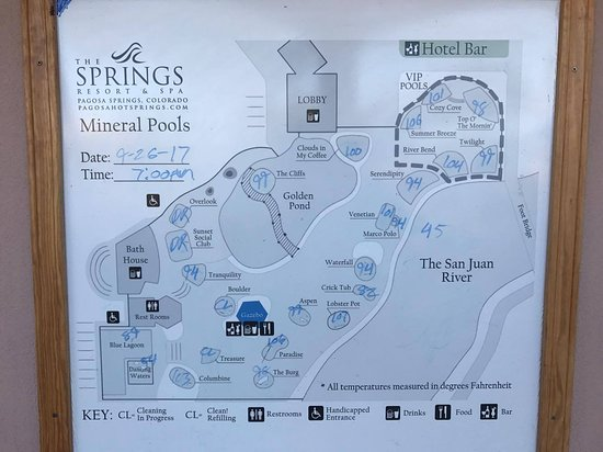 The pool map - Picture of The Springs Resort & Spa, Pagosa Springs ...