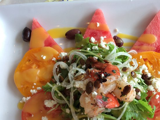 Mariposa: Tiger Shrimp and Farm Tomato Salad